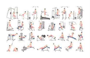 Set of workout for women on exercise machines.
