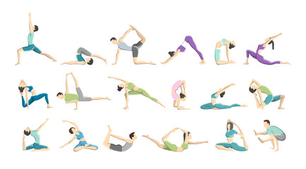Set of yoga asana for men and women