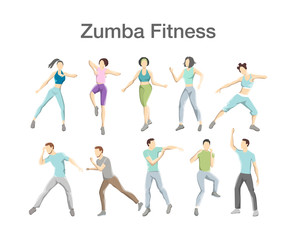Set of zumba dancers. Group of fitness people doing exercices
