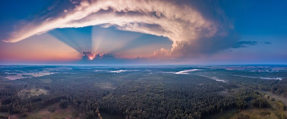 Beautiful misty evening panoramic landscape photographed from drone
