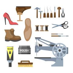 Set of the shoe repair equipment illustration