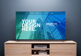 Smart TV on a Wooden Console Mockup