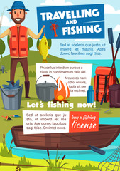 Travelling and fishing poster with fisher and camp