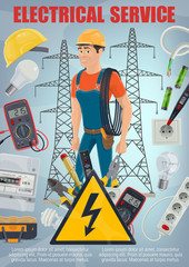 Electrical repair service. Electrician and tools