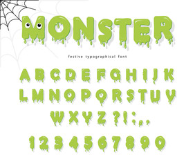 Halloween cute monster font for kids. Jelly slim green letters and numbers.