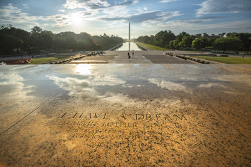 Etched into the stone on the steps of the Lincoln Memorial, a marker of the exact spot Dr. Martin Luther King, Jr. stood to deliver the 'I Have a Dream' speech in 1963 in Washington DC