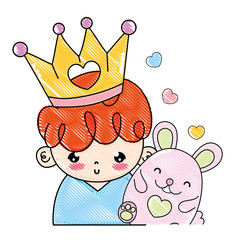 grated nice boy with crown and cute mouse