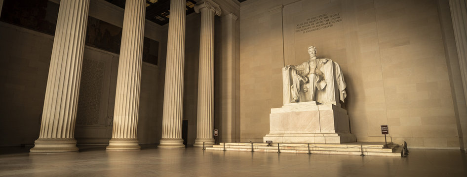 Statue of Abraham Lincoln Memorial on the National Mall in Washington DC USA