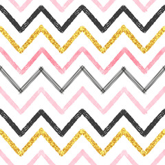 Seamless chevron pattern. Hand drawn pink, golden and black brush stroke lines.