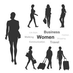 女性シルエット(ビジネス/買物/旅行)
