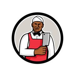African American Butcher Circle Mascot