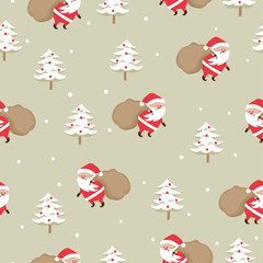 Merry Christmas seamless pattern with Santa Claus and christmas tree.