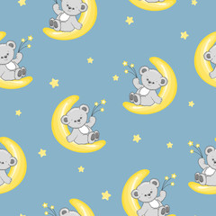 Seamless night pattern with cute Teddy bears on the moon. Baby print.