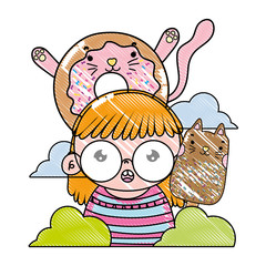 grated girl with kawaii cat donut and ice lolly