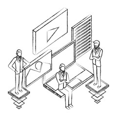 businessmen group teamwork with network icons