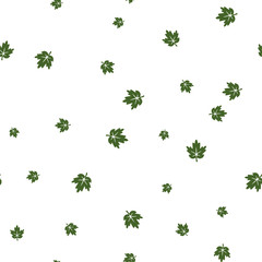 Maple leaf green seamless pattern