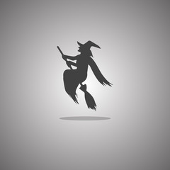 Witch broomstick Halloween isolated