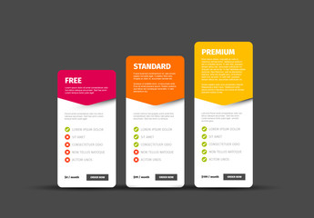 Product/Service Price Comparison Cards Layout