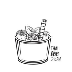 Thai ice cream roll