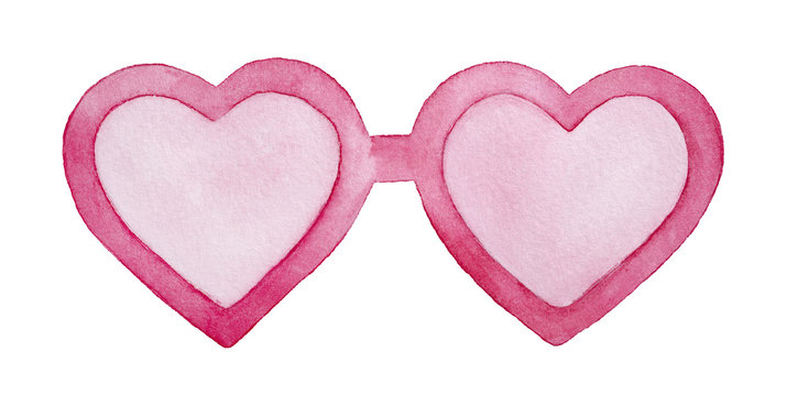 Cute pink heart shaped sun glasses with rose tinged lenses. Symbol of youth, falling in love, enjoyment. One single object, front view. Handdrawn water colour graphic drawing, cutout design element.