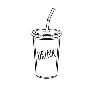 Drinks mug with straw