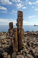 Love Locks on piling in Duluth, MN on Lake Superior