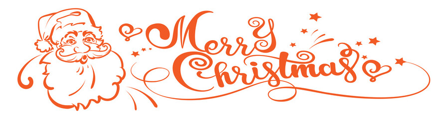 Christmas Santa Claus and calligraphy text of Merry Christmas on white background, vector image