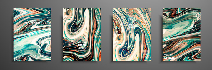 Fototapete - Flyer layout template with mixture of acrylic paints. Liquid marble texture. Fluid art. Applicable for design cover, flyer, poster, placard. Mixed green, brown and yellow paints
