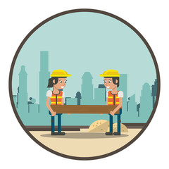 Geometric workers cartoons