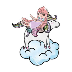 scribbled sleeping girl with beauty unicorn in the cloud