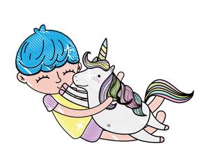 scribbled happy boy hugging nice unicorn