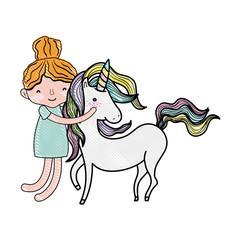 scribbled happy boy hugging beauty unicorn