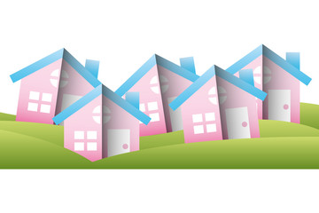 houses buildings silhouette icon