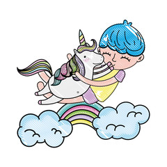 scribbled happy boy hugging unicorn with rainbow and clouds