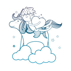 degraded outline sleeping boy with heart and unicorn in the clouds