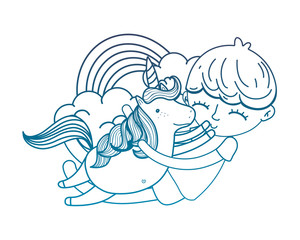 degraded outline boy hugging unicorn with rainbow and clouds