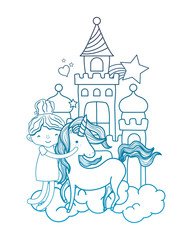 degraded outline girl hugging unicorn in the castle with clouds