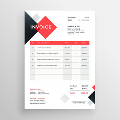 modern invoice template design in red theme