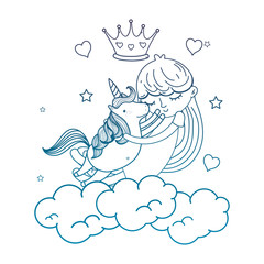 degraded outline girl hugging unicorn in the clouds with crown and hearts
