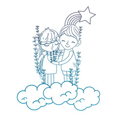degraded outline boy and girl together in the clouds with rainbow