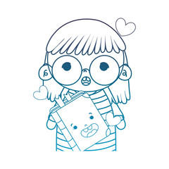degraded outline girl with glasses and kawaii happy book