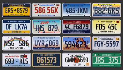 Vector American vehicle registration number plates