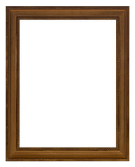 An isolated wooden frame for photos and art