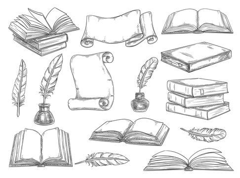 Retro books and literature quills vector sketch