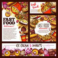 Fast food burgers, pizza and dessert vector sketch
