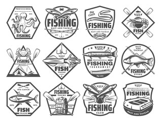 Fish and seafood fishing club vector icons