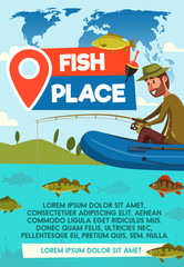 Fisher catch on fishing place vector poster