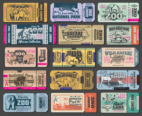Zoo park wild animals vector entrance tickets