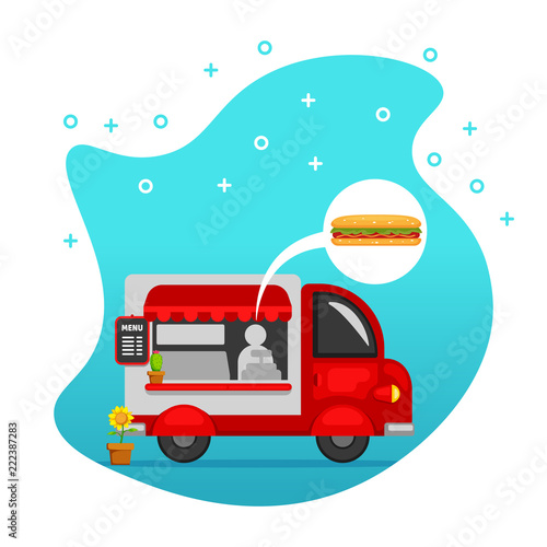Food truck street food stand offering hot dog vector illustration