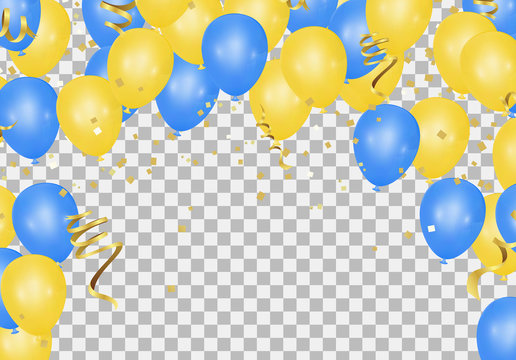 Yellow and blue balloons on the translucent floor can be used for weddings, birthdays and events.